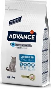 Advance Cat, Turkey Sterilized, сухой корм для кастрир. котов с индейкой., 1,5кг