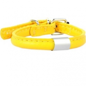 Collar Glamour ошейник круглый с адресником 6мм 17-20см желтый