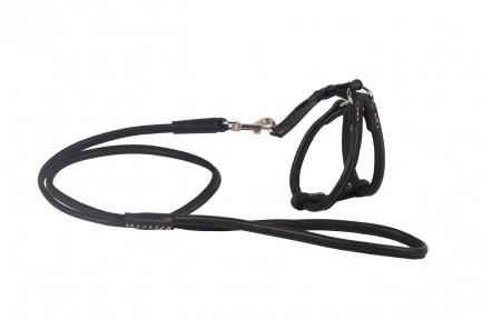 Collar SOFT Шлея и поводок круглая черный 6мм/115см 26-46/30-50 см