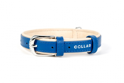 Collar Brilliance ошейник без украшений синий 12мм/21-29см
