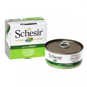 Schesir Chicken Fillet консервы для собак, влажный корм куриное филе в желе, банка 150 г