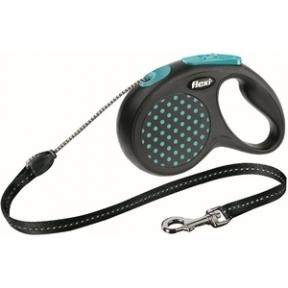 Flexi Design 5m,трос, черный-голубой 12kg