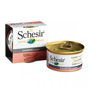 Schesir Salmon Natural Style консервы для кошек, влажный корм лосось в собственном соку, банка 85 г