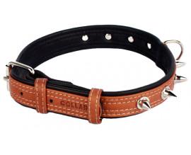 Collar Soft ошейник с шипами коричневый верх 25мм/38-49см
