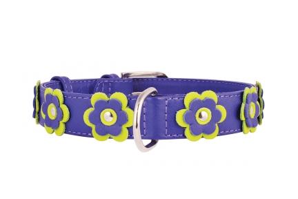 Collar Glamour ошейник с украшением апликация фиолетовый 20мм/30-39см
