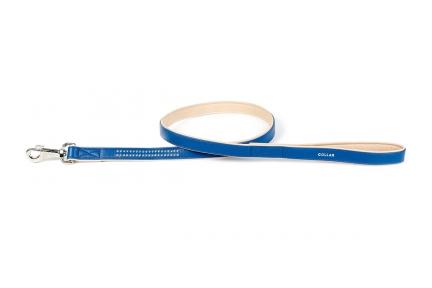 Collar brilliance поводок со стразами синий25мм/122см
