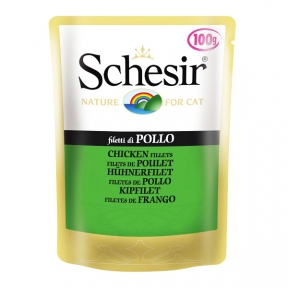 Schesir Chicken Fillet влажный корм натуральные консервы для кошек, куриное филе в желе, пауч 100 г