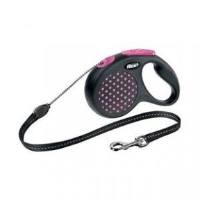 Flexi Design 5m, трос, черный-розовый 20kg