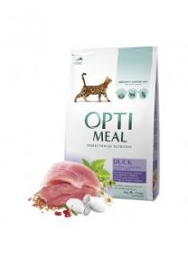 OptiMeal сухой корм для котов с эффектом выведения шерти со вкусом утки 4кг
