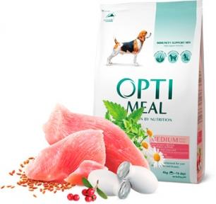 OptiMeal сухой корм для собак средних пород с индейкой 4кг