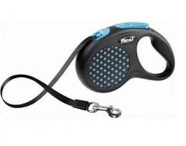 Flexi Design 5m, лента, черный-голубой 50kg