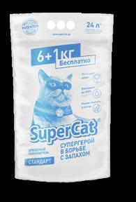 SuperCat Древесный наполнитель Стандарт 6+1кг