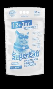 SuperCat Древесный наполнитель Стандарт 12+3 кг