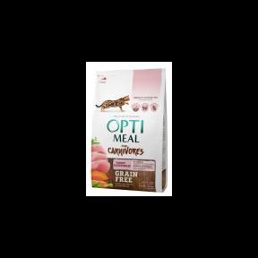 OptiMeal Беззерновой сухой корм для котов индейка и овощи 4кг