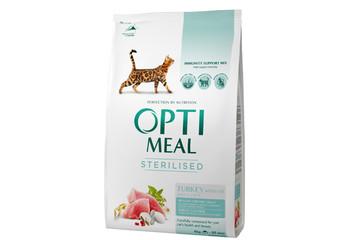 OptiMeal сухой корм для стерилизованых котов индейка и овес 4кг