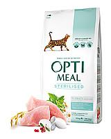 OptiMeal сухой корм для стерилизованых котов индейка и овес 10 кг