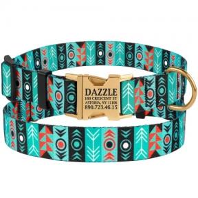 BronzeDog Tribal орнамент инки ошейник для собак с метал пряжкой 30-40см/20мм , резмер M