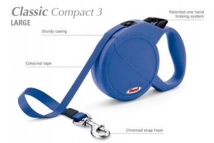 Flexi Classic Compact 3 5m, лента, синий 60kg