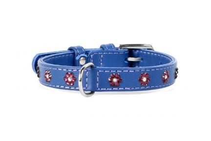 Collar Glamour ошейник стразами Цветочек фиолетовый 9мм/19-25см