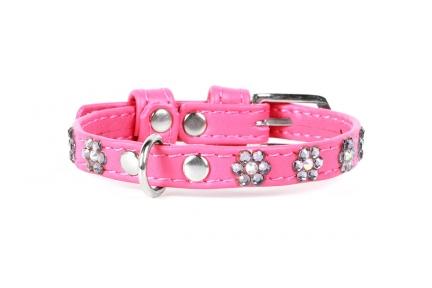 Collar Glamour ошейник стразами Цветочек розовый 9мм/19-25см