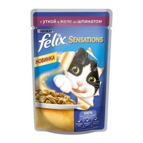 Felix Sensations Утка в желе со шпинатом 100g