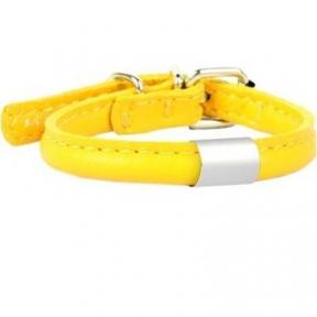 Collar Glamour ошейник круглый с адресником L (желтый) 45-53см