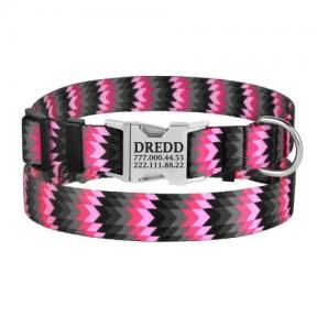 BronzeDog Urban ошейник капрон металлическая пряжка зиг-заг 16мм розово-серый
