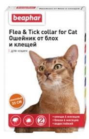 Beaphar ошейник от блох и клещей для котов 35см оранжевый