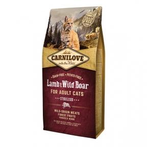 Carnilove Lamb&Wild Boar Sterilised беззерновой сухой корм для кастрированных котов 2kg