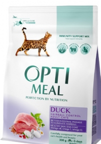 OptiMeal сухой корм для котов с эффектом выведения шерти со вкусом утки 300г