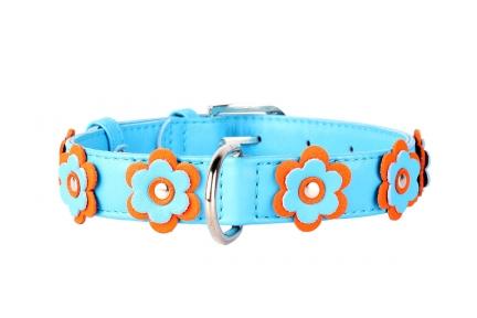 Collar Glamour ошейник с украшением голубой 20мм 30-39мм