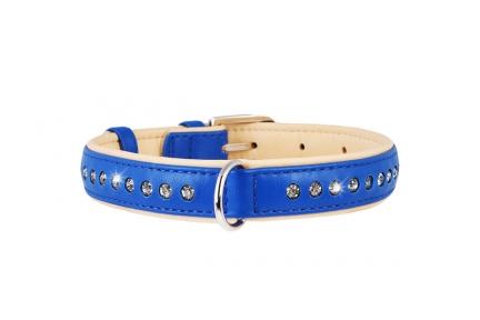 Collar Brilliance ошейник со стразами синий 25мм/38-50см