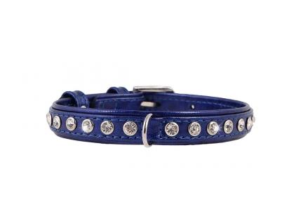 Collar Brilliance ошейник со стразами премиум класса синий 15мм/27-36см