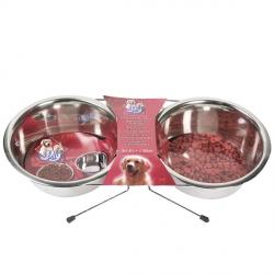 Karlie-Flamingo (КАРЛИ-ФЛАМИНГО) DINNER SET миски на подставке для собак, нержавейка 2х22см