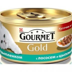 Gourmet Gold кусочки в подливе с лососем и цыпленком 85г