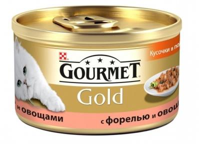 Gourmet Gold кусочки в подливе с овощами и форелью 85г