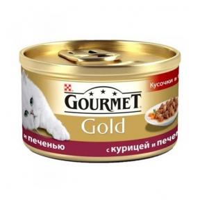 Gourmet Gold кусочки в подливе с курицей и печенью 85г