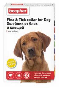 Beaphar Ошейник от блох и клещей для собак  65см желтый