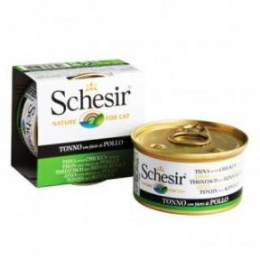 Schesir Tuna Chicken консервы для кошек, влажный корм тунец с филе курицы в желе, банка 85 г
