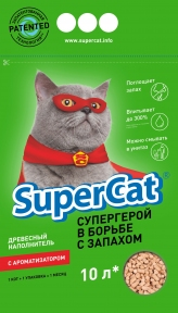 SuperCat Древесный наполнитель с ароматизатором 10л
