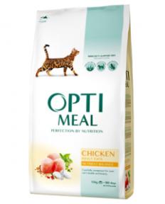 OptiMeal сухой корм для котов с курицей 10кг