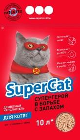 SuperCat Древесный наполнитель для котят 10л