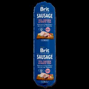 Brit Premium Dog Sausage 800g, колбаса курица и белая рыба