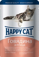 Happy Cat Пауч Говядина и птица в соусе 100гр