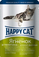Happy Cat Пауч Ягненок и телятина  с зел.фас. в соусе 100гр