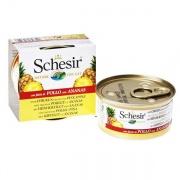 Schesir Chicken Pineapple консервы для кошек, влажный корм филе курицы с ананасом, банка 75 г