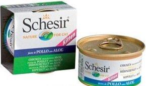 Schesir Chicken Aloe Kitten консервы для котят, влажный корм филе курицы с алоэ в желе, банка 85 г