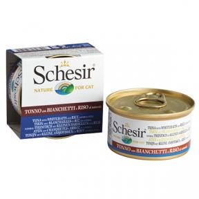Schesir Tuna Whitebait Rice влажный корм тунец с мальками и рисом в собственному соку, банка 85 г