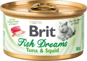 Brit Fish Dreams, консервы для котов, тунец и кальмары, 80г