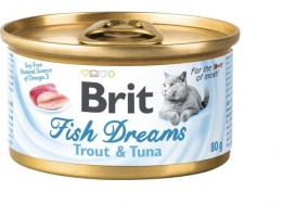 Brit Fish Dreams, консервы для котов, форель и тунец, 80г